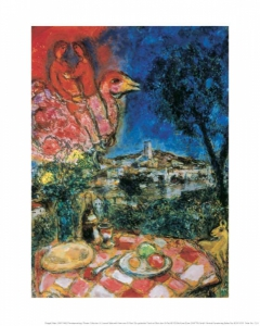 Marc Chagall - A covered table with view over St. Paul
