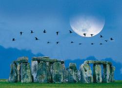 Moon over Stonehenge