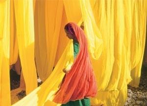 Indian Woman- drying fabric