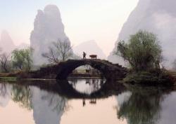 Ox Herding, Crossing the Bridge - Über die Brücke, China