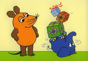 Mouse and elephant with presents