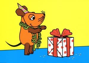 Maus mit Geschenk